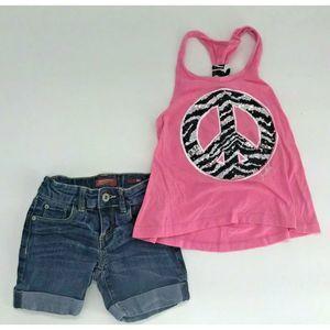 Justice Arizona Jeans Tank & Shorts Sz 7